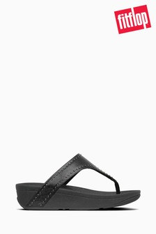 FitFlop™ Black Lottie Microstud Toe Thong Sandals