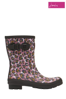 Joules Pink Molly Mid Height Printed Wellies