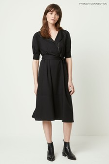 French Connection Black Clarita Drape Shirt Dress