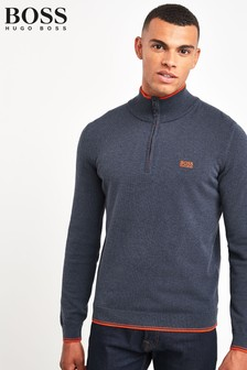 BOSS Blue Zimex Quarter Zip Jumper