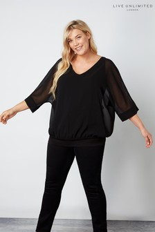 Live Unlimited Black Overlay Blouson Top