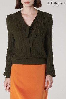 L.K.Bennett Green Launay Tie Neck Sweater