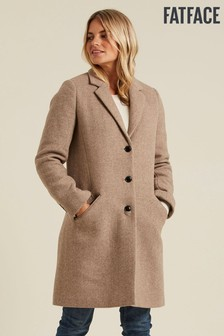 FatFace Camel Wool Coat
