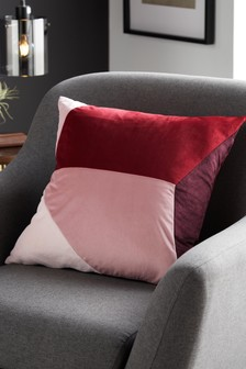 Retro Red Abstract Geo Cushion