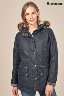 Barbour® Navy Kelsall Wax Faux Fur Parka