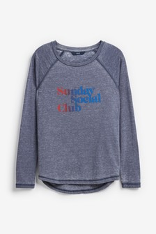 Washed Graphic Long Sleeve T-Shirt