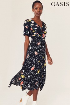 Oasis Black Patch Print Tea Dress