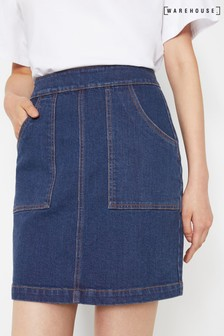 Warehouse Blue Denim Patch Mini Pocket Skirt