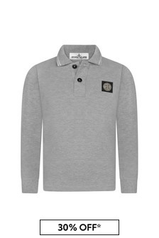 Boys Grey Cotton Pique Long Sleeve Polo Top