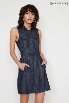 Warehouse Blue Sleeveless Mini Denim Dress
