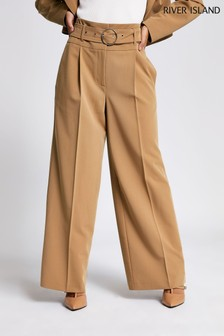 River Island Camel Entry Wide Leg Trousers