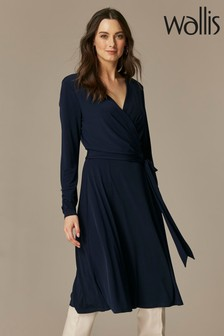 Wallis Navy Wrap Midi Dress
