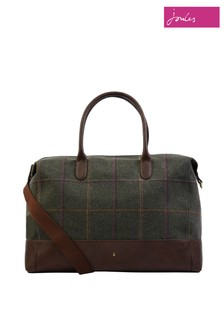 Joules Green Paddington Tweed Overnight Bag