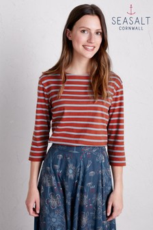 Seasalt Red Breton Umber Cornflower Sailor Top