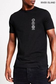 River Island Black Printed T-Shirt