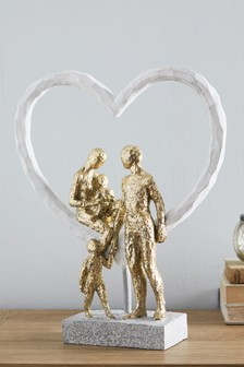Family On Heart Sculpture