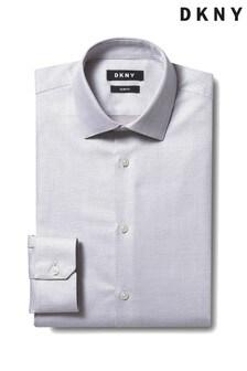 DKNY Red Slim Fit Single Cuff Dobby Shirt