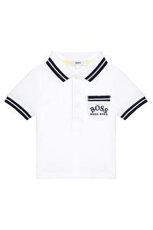 Boss Kidswear Baby Boys White Cotton Polo Shirt