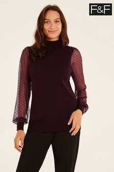 F&F Burgundy Sheer Sleeve Turtle Jumper