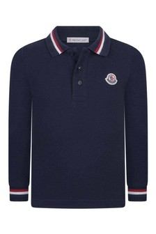 Boys Navy Cotton Long Sleeve Polo Top