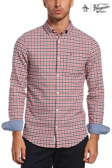 Original Penguin® Red Slim Fit Cotton Oxford Gingham Check Shirt