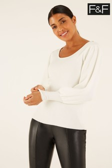 F&F Scoop Neck Volume Sleeve Jumper