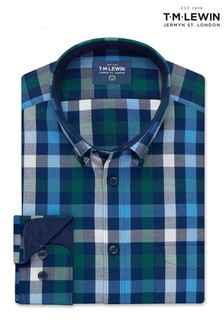 T.M. Lewin Green/Blue Gingham Slim Fit Single Cuff Shirt