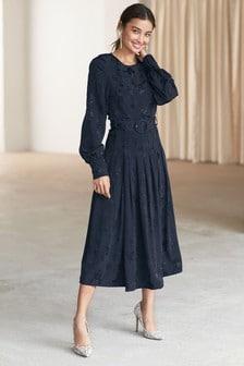 Long Sleeve Jacquard Belted Midi Dress