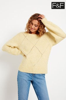 F&F Yellow Lemon Diamond Stitch Jumper