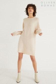 Oliver Bonas Oatmeal Open Back Knitted Jumper Dress