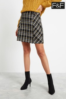 F&F Multi Yellow Brushed Oversized Check Skirt