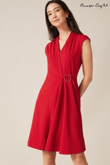 Phase Eight Red Linden Ring Detail Swing Dress