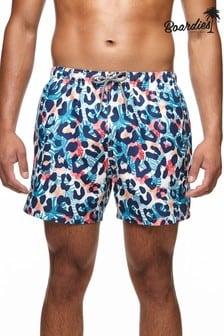 Boardies Mens Tropical Leopard Mid Length Swim Shorts