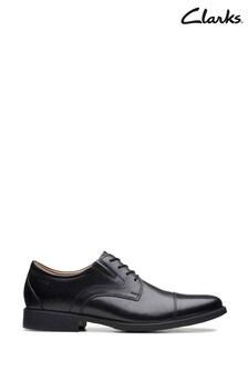 Clarks Black Leather Whiddon Cap Shoes