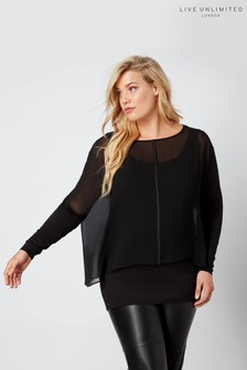 Live Unlimited Black Studded Chiffon Overlay Top