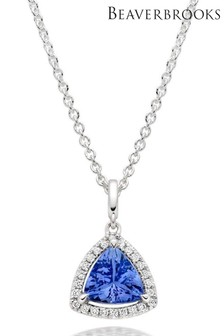 Beaverbrooks 18ct White Gold Tanzanite And Diamond Pendant