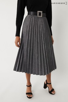 Warehouse Silver Metallic Pleated Skirt