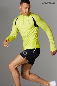 Žltý top s dlhým rukávom a polovičným zipsom Calvin Klein
