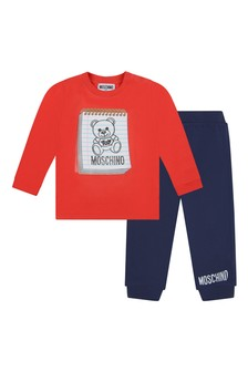Baby Boys Red Cotton T-Shirt & Navy Trousers Set