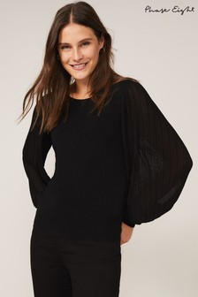 Phase Eight Black Mikaela Woven Sleeve Jumper