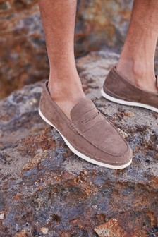 Suede Saddle Loafers