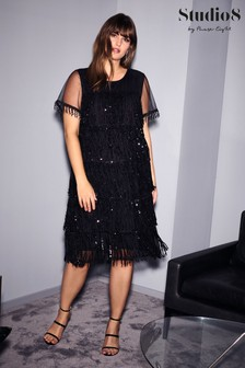 Studio 8 Black Matilda Sequin Fringe Dress