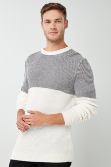 Pattern Colourblock Crew Jumper