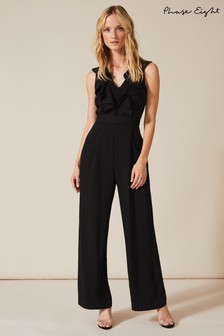 Phase Eight Black Linda Frill Jumpsuit