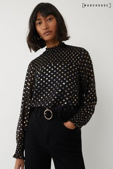 Warehouse Gold Foil Spot Dot Smocked Top