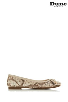 Dune London Natural Reptile Harpar Bow Detail Ballerinas