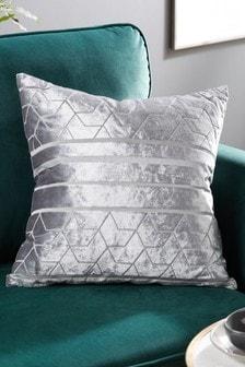 Silver Geo Velvet Cushion