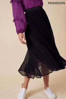Monsoon Black Pleated Dobby Spot Skirt
