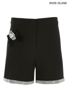 River Island Black Chainmail Shorts