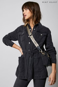 Mint Velvet Black Belted Washed Shacket